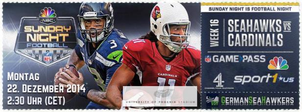 Arizona Cardinals vs. Seattle Seahawks –Take Two. Es könnte kaum ein würdigeres Spiel für Sunday Night Football auf NBC geben.
